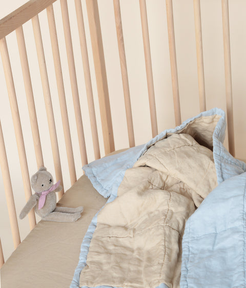 MINI DUVET/PLAYMAT <BR> POWDER BLUE & SAND
