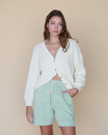 WOMENS CHUNKY CARDIGAN - WHITE