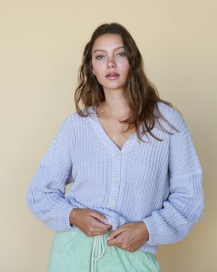 WOMENS CHUNKY CARDIGAN - LAVENDER