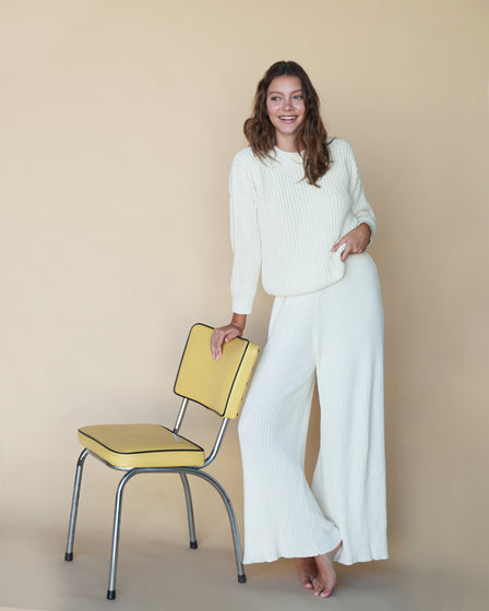 WOMENS WIDE KNIT PANT - SNOW