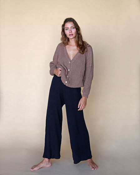 WOMENS WIDE KNIT PANT - NAVY