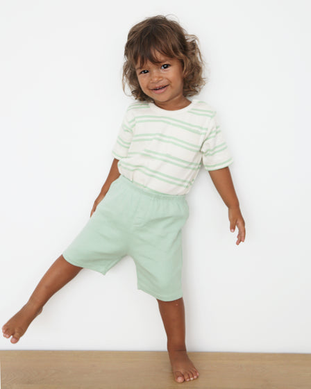 BABY TEE AND SHORTS SET - GREEN PASTEL