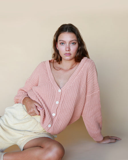 WOMENS CHUNKY CARDIGAN - CORAL