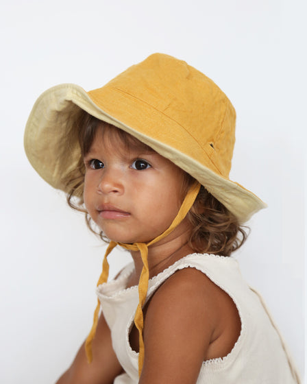 BABY SUN HAT WITH TIES - SUNSHINE AND PASTEL