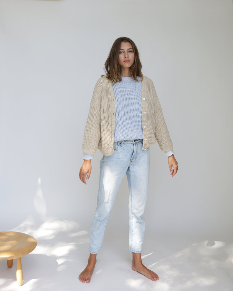 WOMENS CHUNKY CARDIGAN <BR> NATURAL
