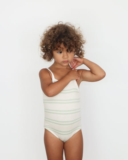 GIRLS COTTON SUNSUIT - AQUA STRIPE