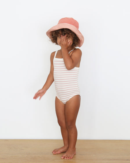 GIRLS COTTON SUNSUIT - ROSE STRIPE