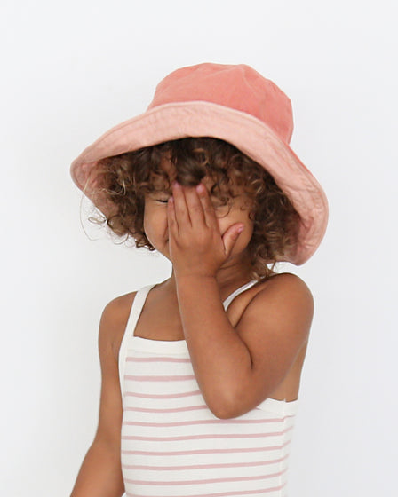 KIDS SUN HAT - CORAL AND MUSK