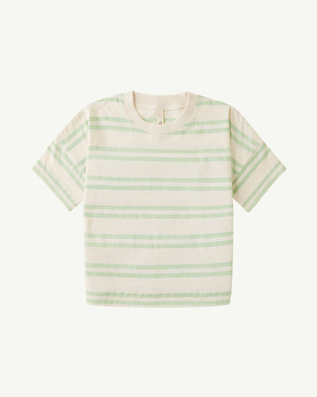OVERSIZED TEE - PASTEL GREEN DOUBLE STRIPE