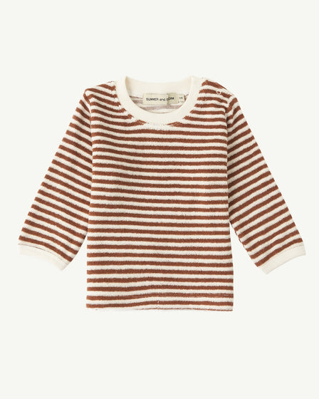 TERRY LONG SLEEVE TOP - RUST STRIPE