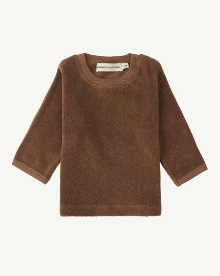 TERRY LONG-SLEEVE TOP - CHOCOLATE