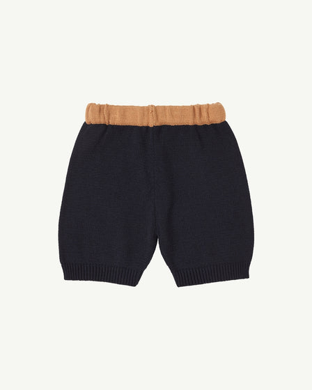 KNIT SHORTS - NAVY AND TAN
