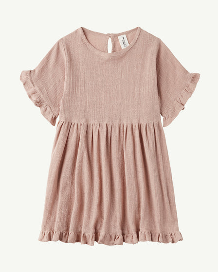 COTTON FRILL DRESS - DUSTY PEACH