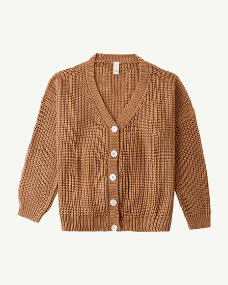 WOMENS CHUNKY CARDIGAN - TAN