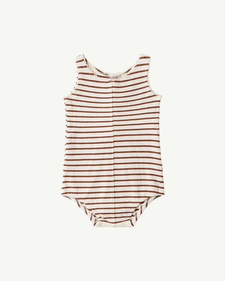 BUTTON ONESIE - RUST STRIPE