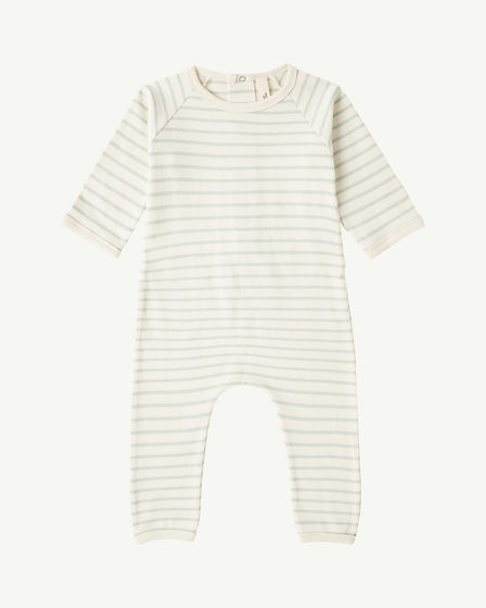 BACK-SNAP ROMPER - PALE AQUA STRIPE