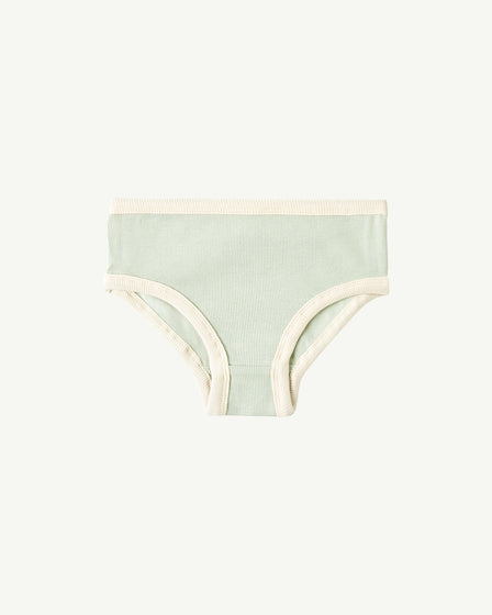 MINI-RIBBED UNDERWEAR - SOFT AQUA AND NATURAL