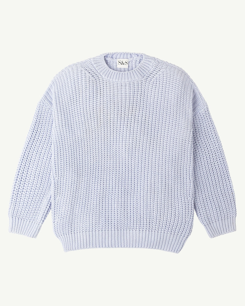WOMENS CHUNKY PULLOVER <BR> POWDER BLUE
