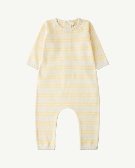 BACK-SNAP ROMPER - YELLOW STRIPE