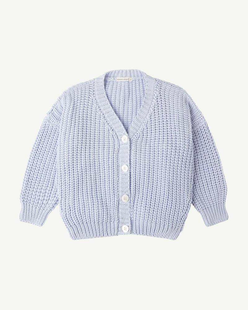 CHUNKY CARDIGAN <BR> POWDER BLUE
