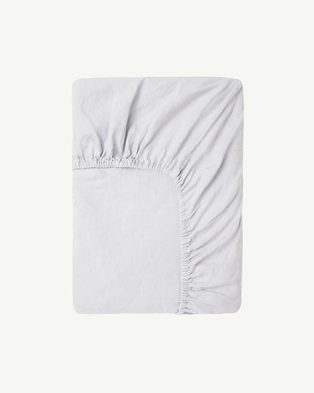 FITTED COT SHEET - POWDER BLUE