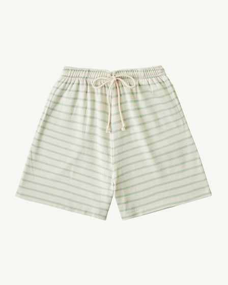 RIBBED LONG SHORTS - SOFT AQUA STRIPE