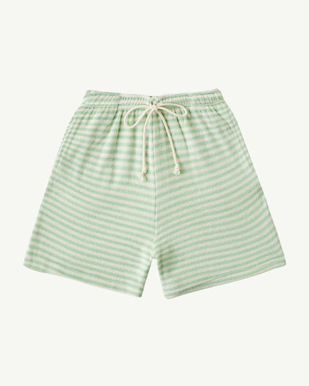 BABY TERRY LONG SHORTS - PASTEL GREEN STRIPE
