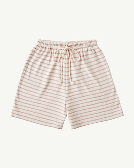 BABY LONG RIBBED SHORTS - ROSE STRIPE