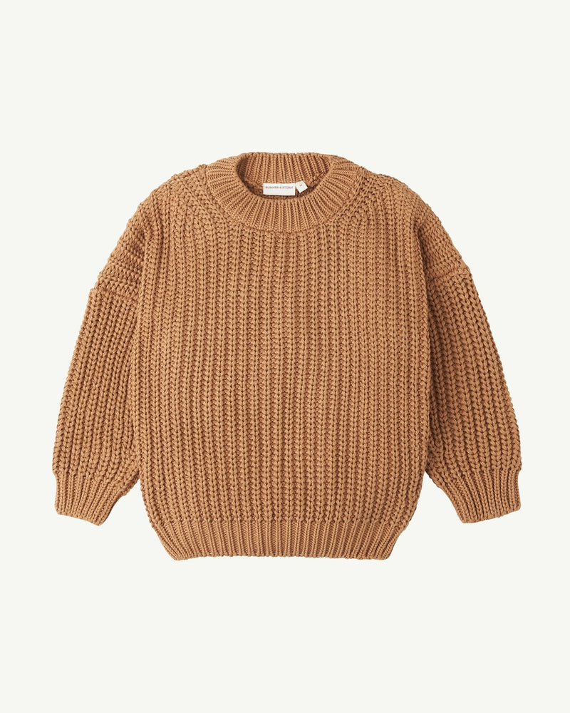 CHUNKY PULLOVER <br> TAN