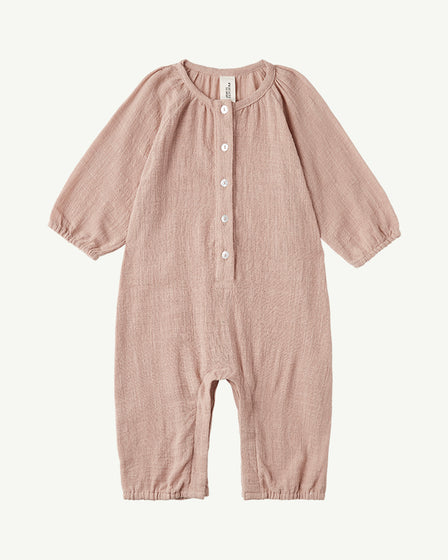LONG-SLEEVE COTTON ROMPER - DUSTY PEACH