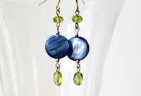 Blue Kyanite and Peridot Sterling Dangle Earrings -from Capital City Crafts