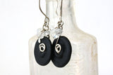 Black Lampwork Glass and Moonstone Sterling Silver Earrings -from Capital City Crafts