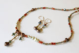 Dainty Pearl and Crystal Boho Y Necklace and Earrings Set -from Capital City Crafts
