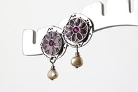 Enamel and Crystal Flower Silver Earrings -from Capital City Crafts