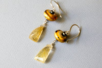 Golden Lampwork Dangle Earrings