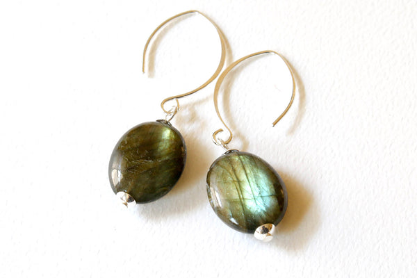 Labradorite Sterling Silver Minimalist Earrings -from Capital City Crafts