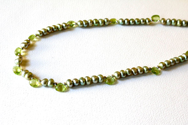 Green Peridot and Freshwater Pearl Minimalist Necklace