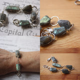 Rustic Raw Labradorite Chunky Crystal Silver Bracelet -from Capital City Crafts