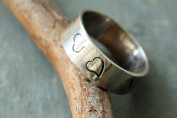 Heart Design Wide Band Sterling Silver Ring Ready to Ship -from Capital City Crafts
