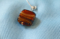Brown Murano Bead Silver Safety Pin Brooch -from Capital City Crafts