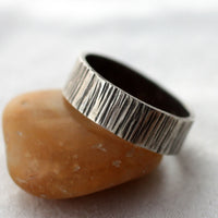 Sterling Silver Bark Texture Unisex Band Ring US Size 7 3/4 -from Capital City Crafts