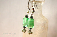 Green Glass and Pearl Silver Boho Style Earrings -from Capital City Crafts
