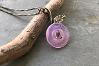 Modern Pink Rose Sterling Silver Necklace -from Capital City Crafts