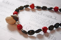 Brown and Red Beaded Gemstone Necklace -from Capital City Crafts