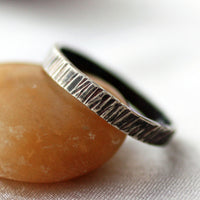 Textured Narrow Sterling Silver Band Friendship Ring Ready to ship -from Capital City Crafts