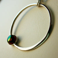Sterling Silver Circle Necklace with Rainbow Pearl -from Capital City Crafts