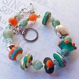 Colorful Aquamarine and Lamp Work Beaded Bracelet -from Capital City Crafts