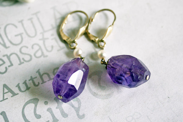 Chunky Amethyst Gemstone Drop Sterling Earrings -from Capital City Crafts