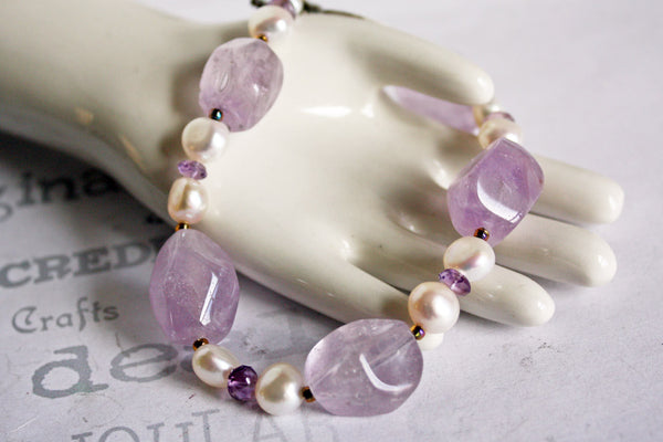 Chunky Amethyst and Pearl Handmade Beaded Bracelet -from Capital City Crafts