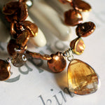 Golden Citrine Gemstone with Mocha Freshwater Pearls Necklace -from Capital City Crafts